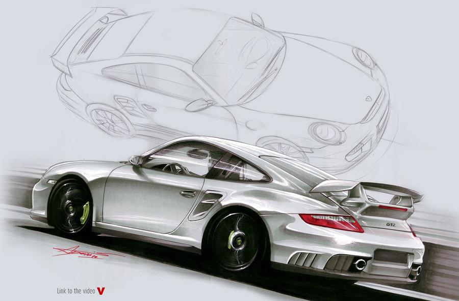Drawn vehicle porsche GT2 drawing designadonis by 911