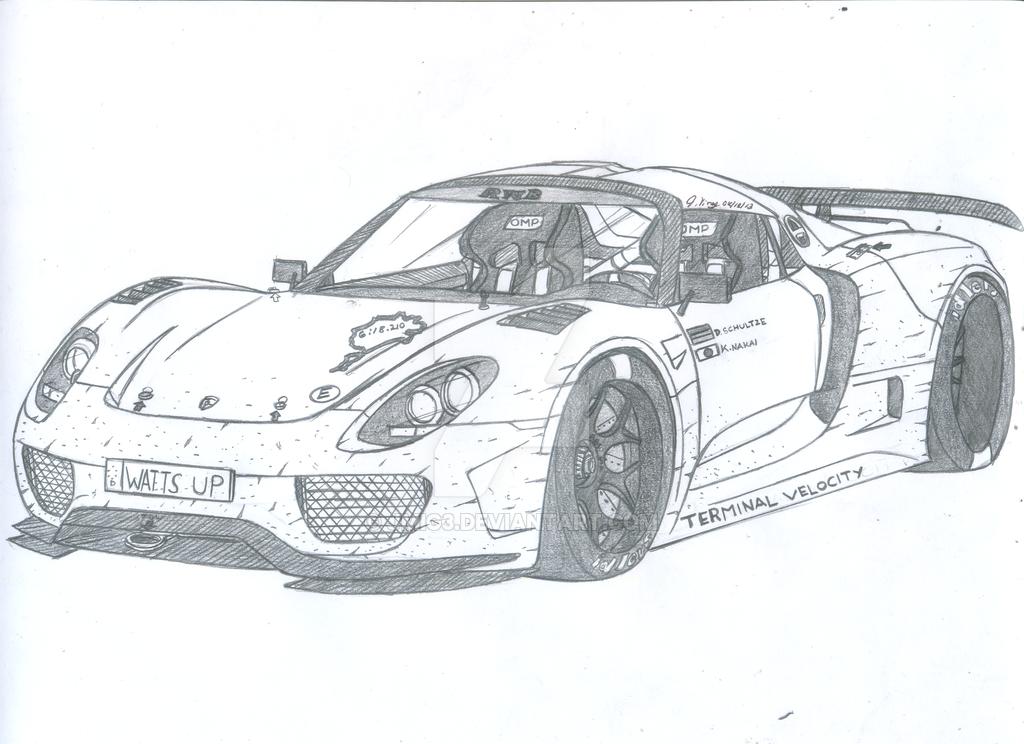Drawn vehicle porsche Spyder drawing Pinterest Ride Porsche