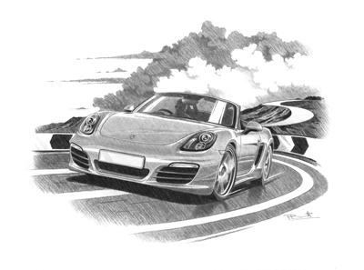 Drawn vehicle porsche Car prints hand drawn Porsche