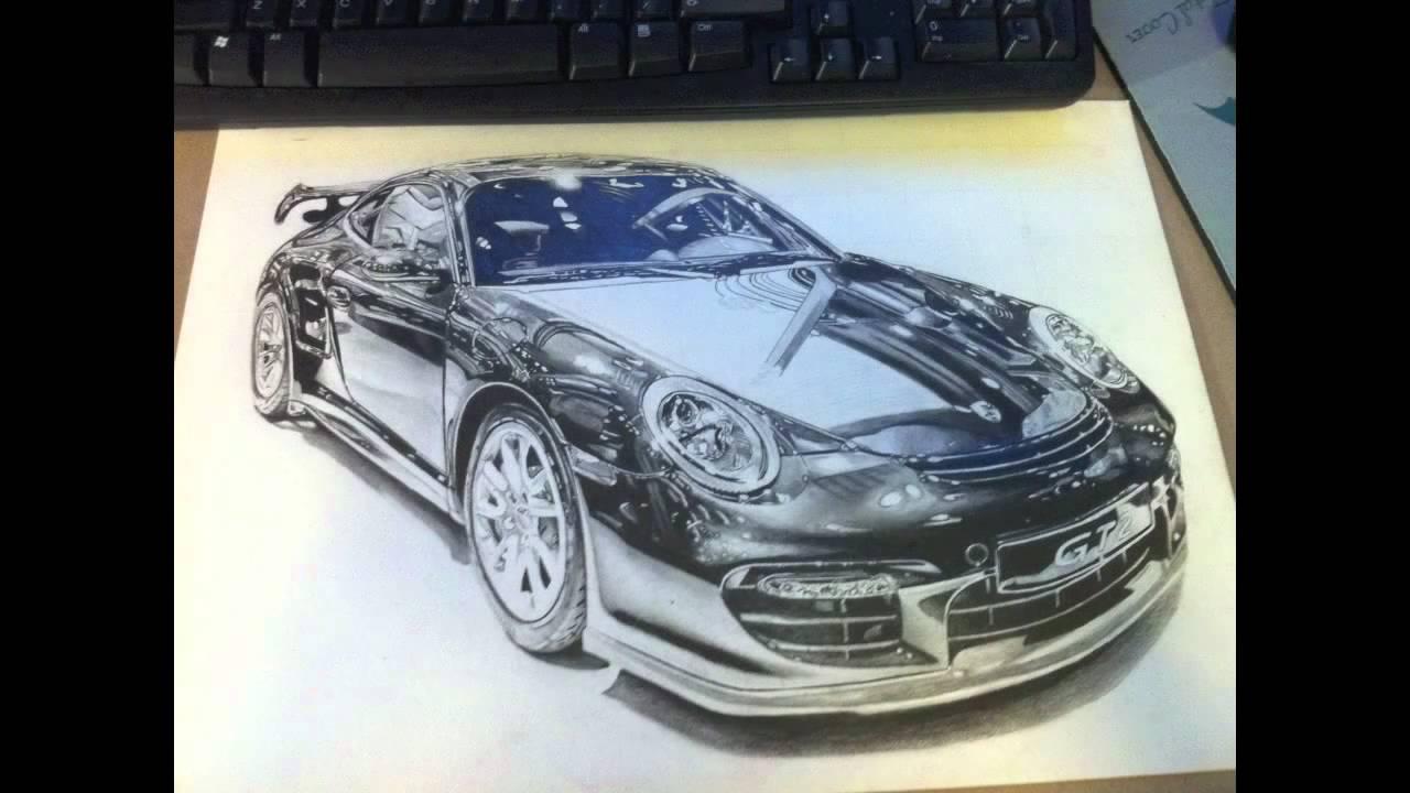 Drawn vehicle porsche PENCIL DRAWING: 30 hours Porsche
