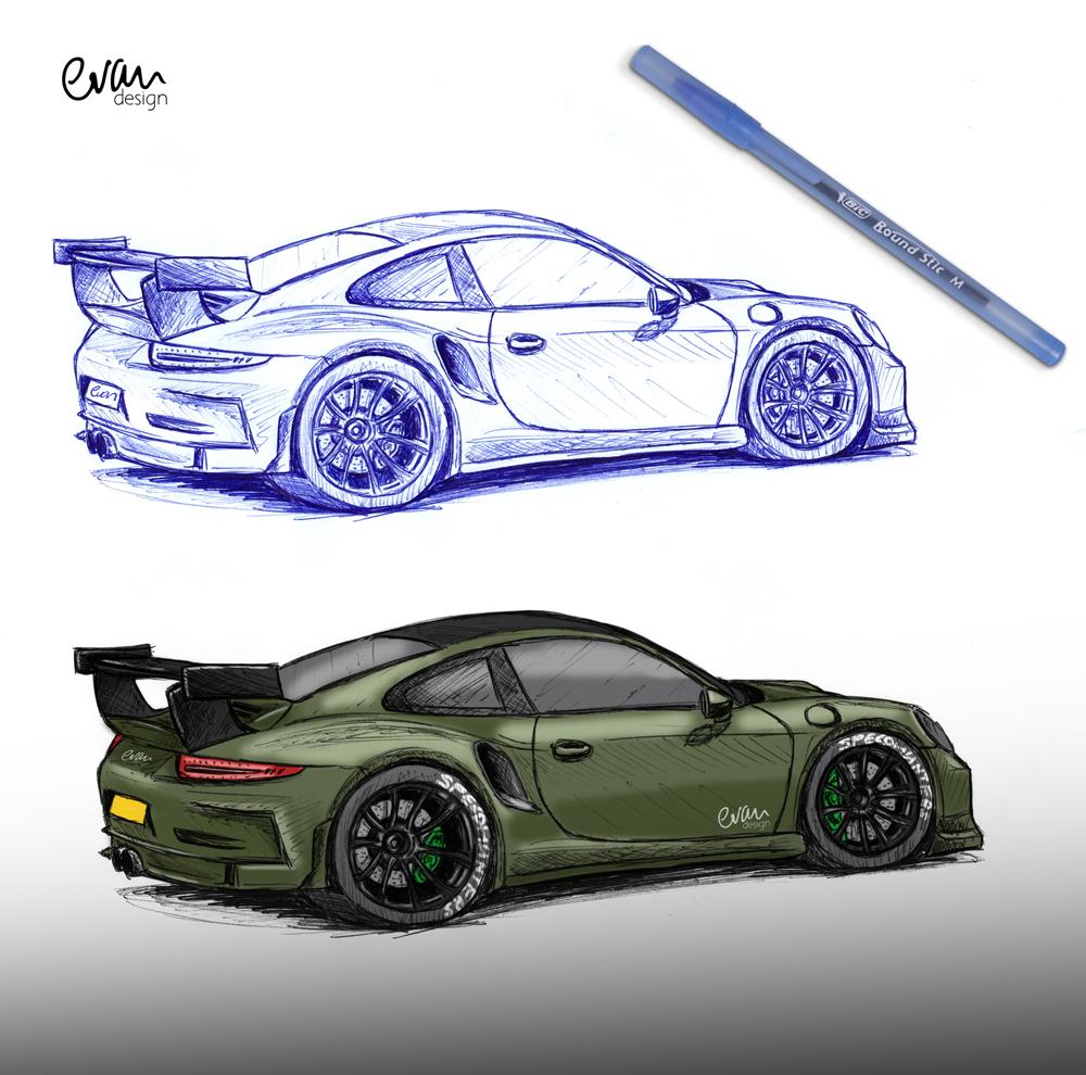 Drawn vehicle porsche 911 And (BIC Porsche drawing (BIC