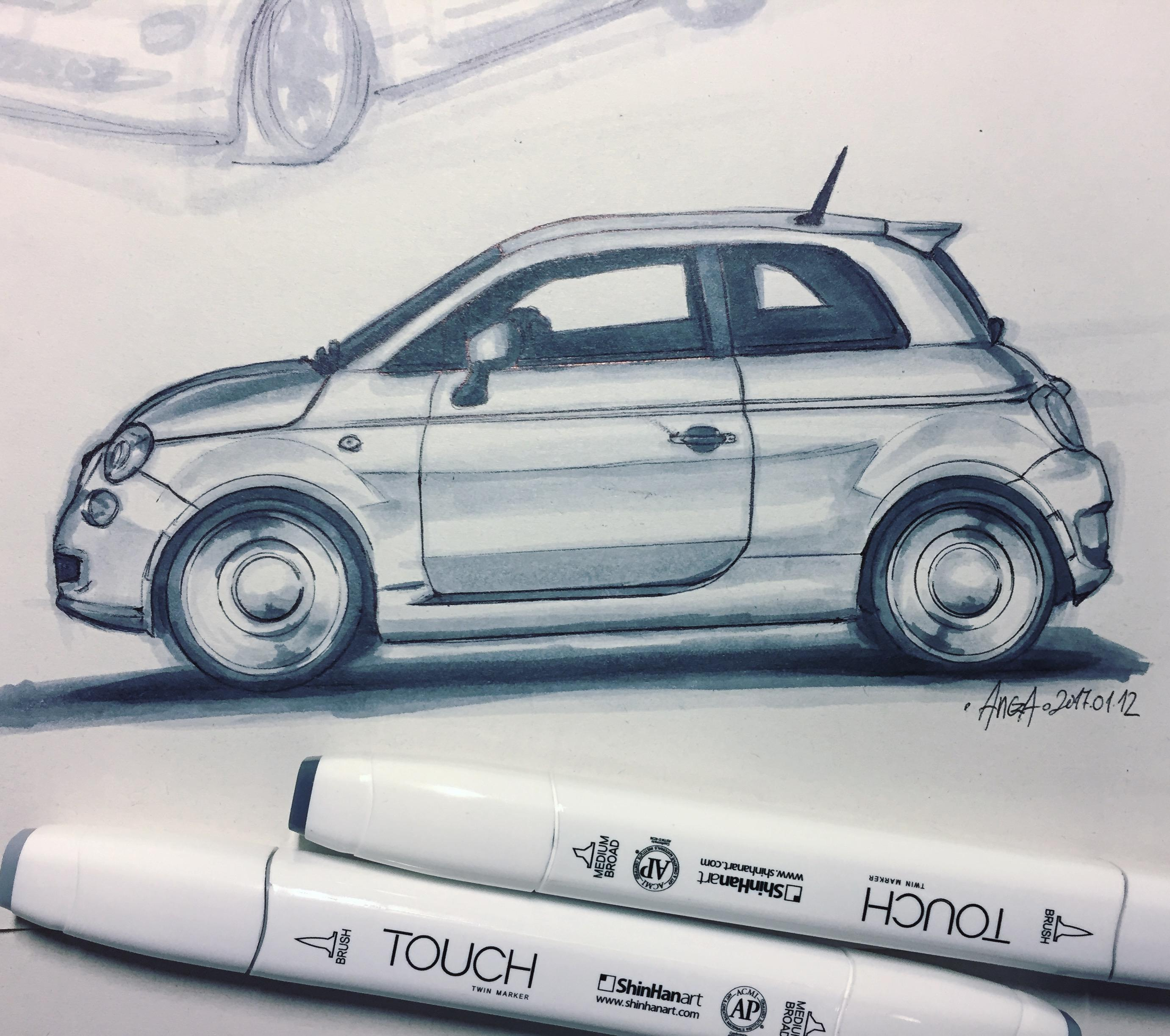 Drawn vehicle side view Few I the class sketches
