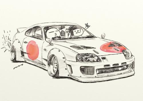 """Drawn vehicle supra Cartoon japanese japanese """"SUPRA"""" car"""