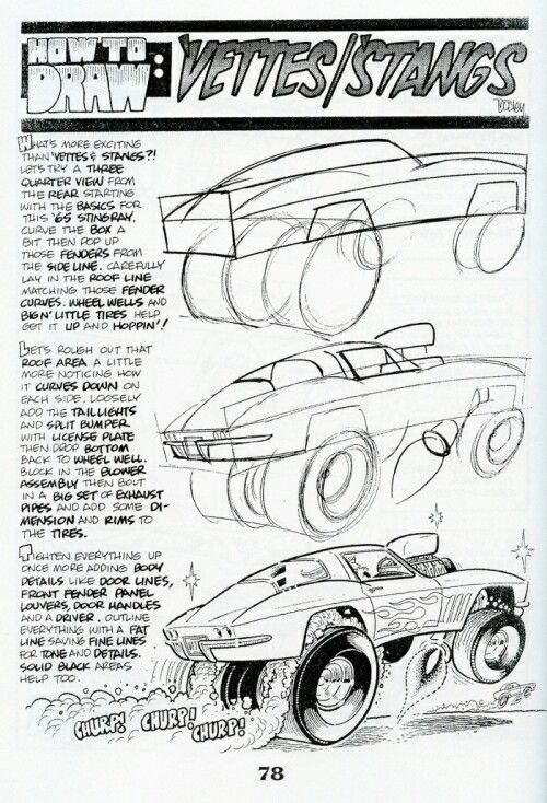 Drawn vehicle top view 'Vettes/'Stangs 25+ How draw: on