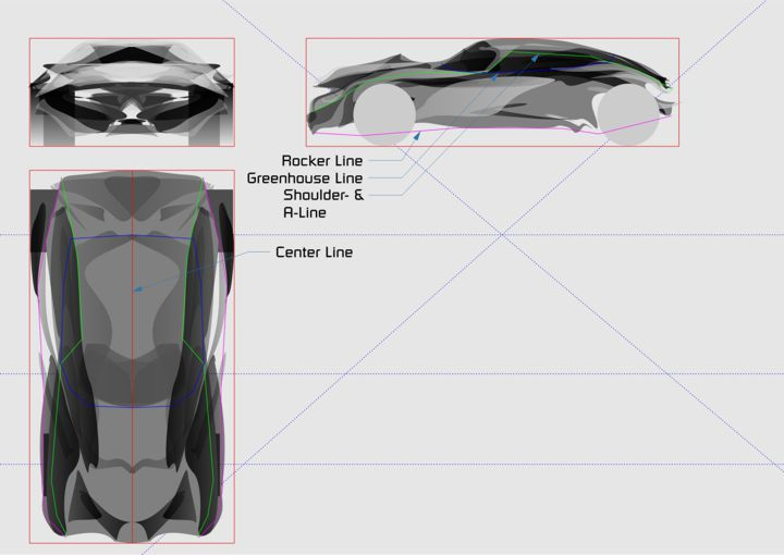 Drawn vehicle top view Rotated nodes them Tool to