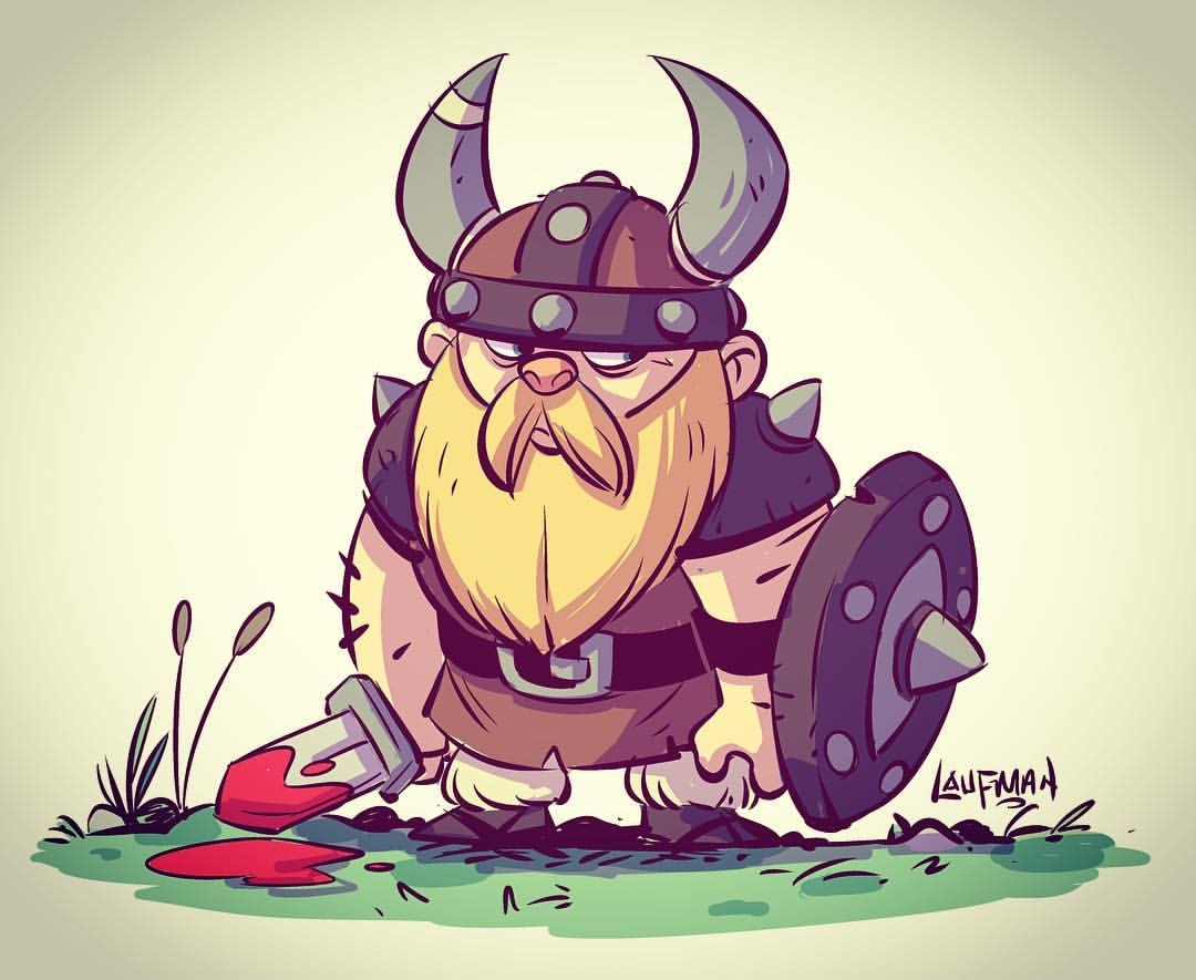 Drawn viking Manga for Studio drawing in