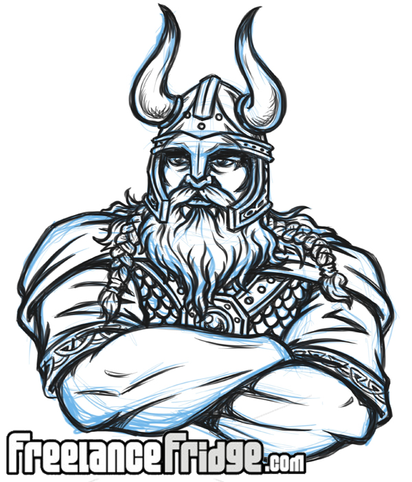Drawn viking Illustration with  Freelance Viking