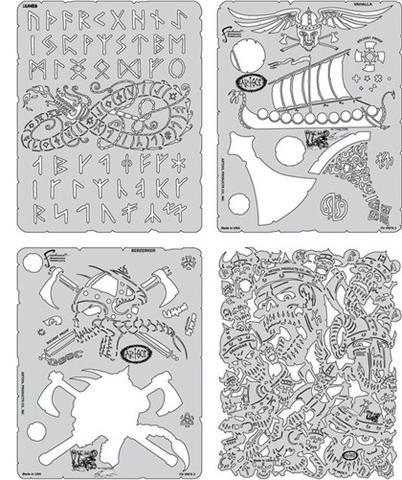 Drawn viking airbrush Stencils Maple Set by Stencil