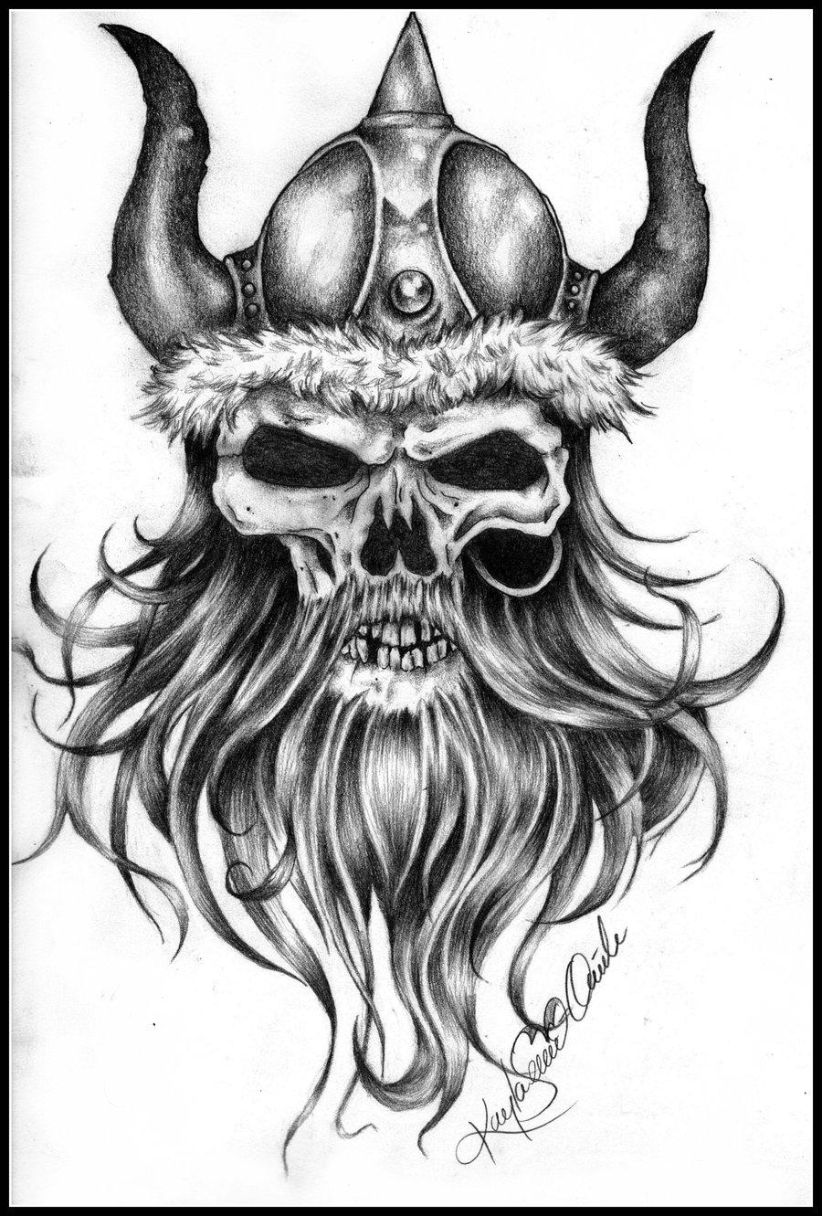 Drawn viking airbrush On Skull by KaylaSevier KaylaSevier