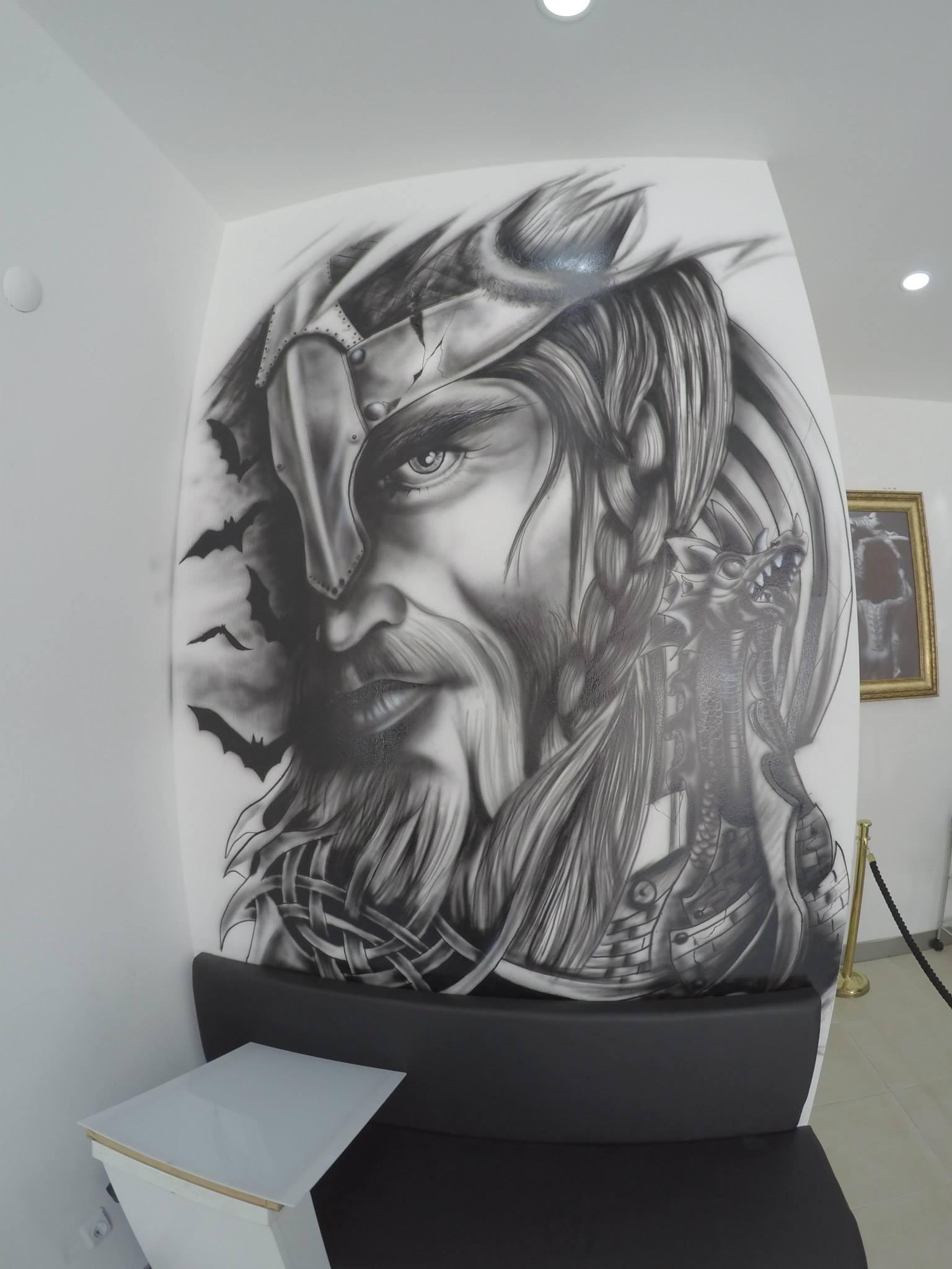 Drawn viking airbrush Royal Portrait Design Tattoo Tattoo