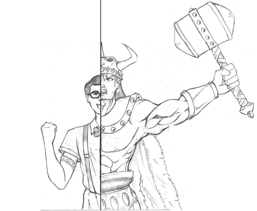 Drawn viking berserker Asian Viking Dualmask Viking on