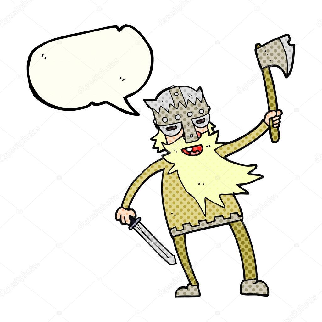 Drawn viking comic Freehand  Vector cartoon viking