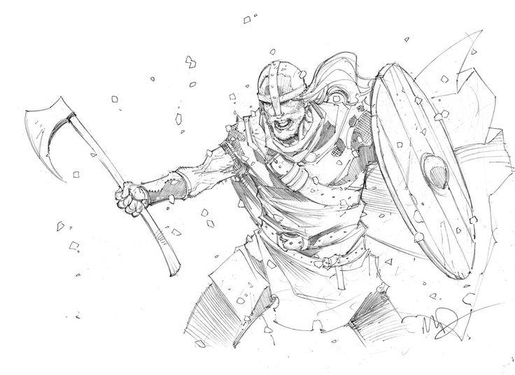 Drawn viking comic Berserker pencil Drawings on about