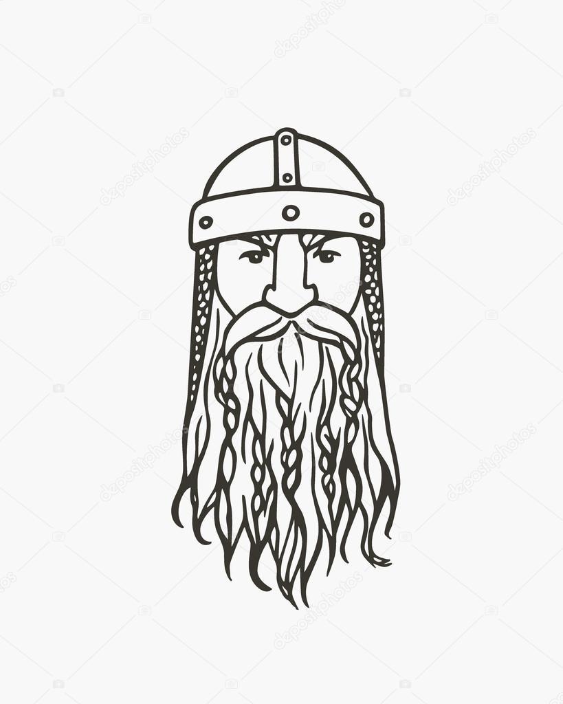 Drawn viking vector Vector drawn portrait Stock Hand