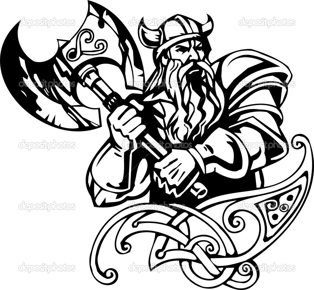 Drawn viking vector — viking illustration ready Vector