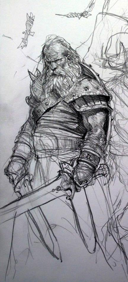 Drawn warrior old Lengthened WarriorViking The of years