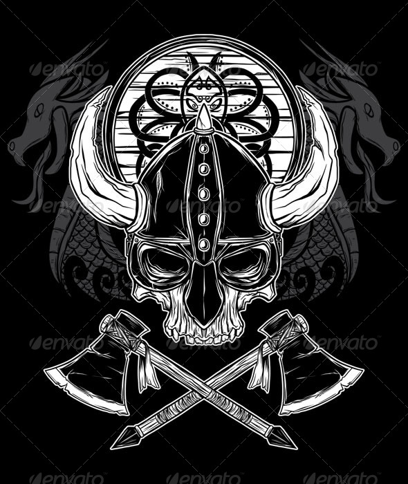 Drawn shield decorative Drawn Viking helmet Skull Skull