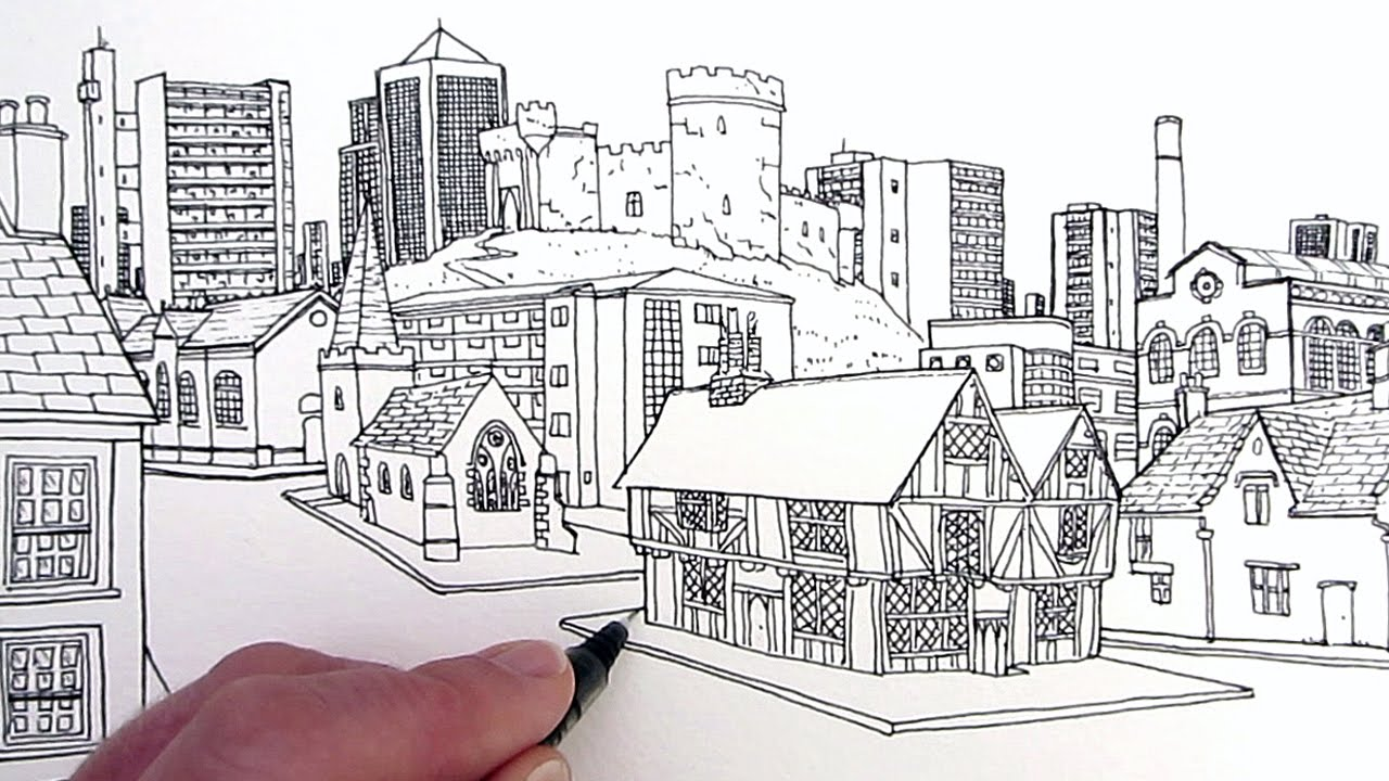 Drawn bulding  creative Buildings: Village Buildings: Draw to