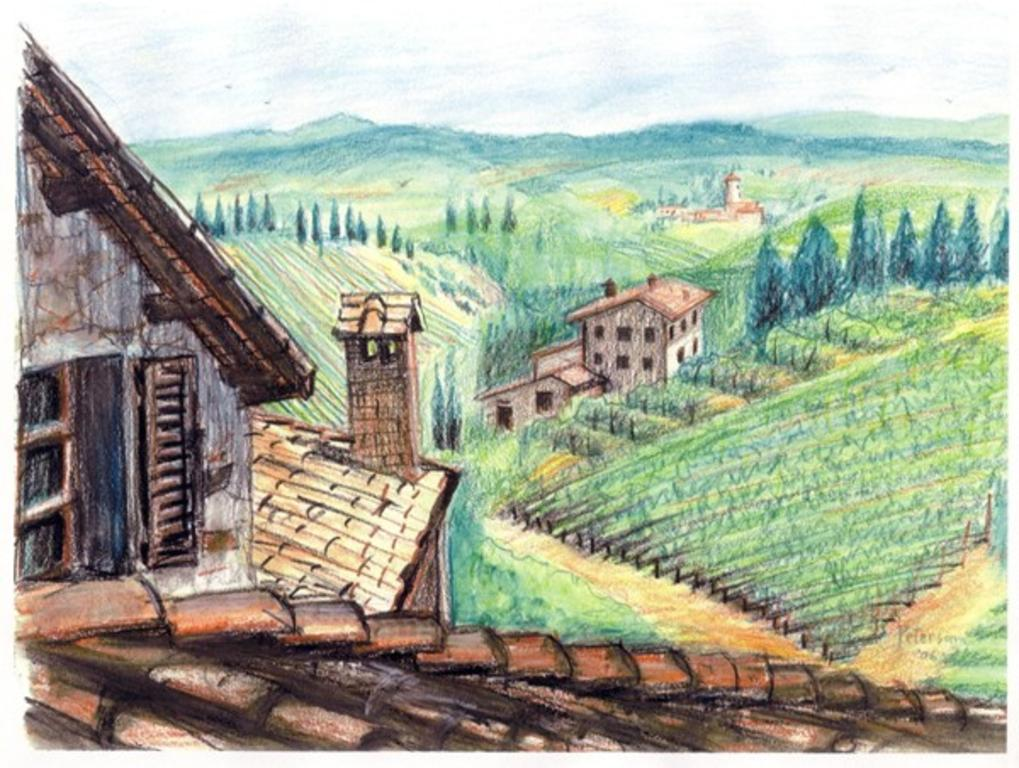 Drawn village I__™d picture back Italy transported