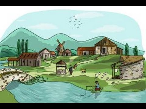 Drawn village To a How scene village