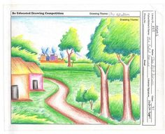 Drawn scenery morning By Scenery scene village Play
