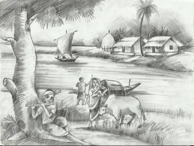 Drawn scenery natural scenery Art: Drawing Scenery Artist Bangladesh