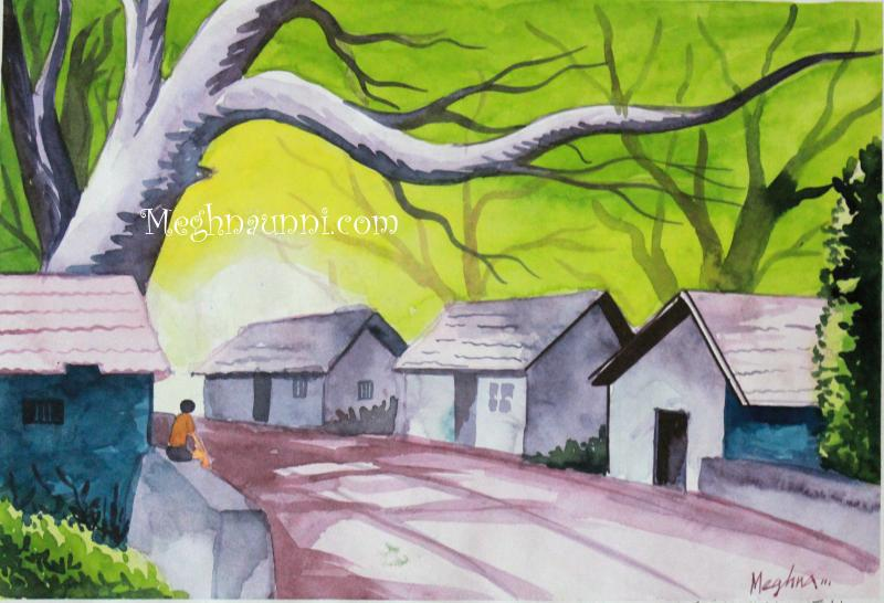 Drawn scenery color Drawing drawings 2001) Village in