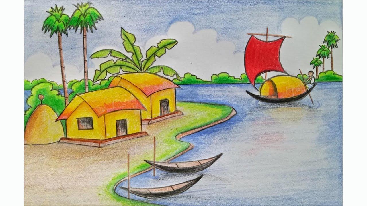 Drawn scenery class 3 Draw village easy) scenery Step
