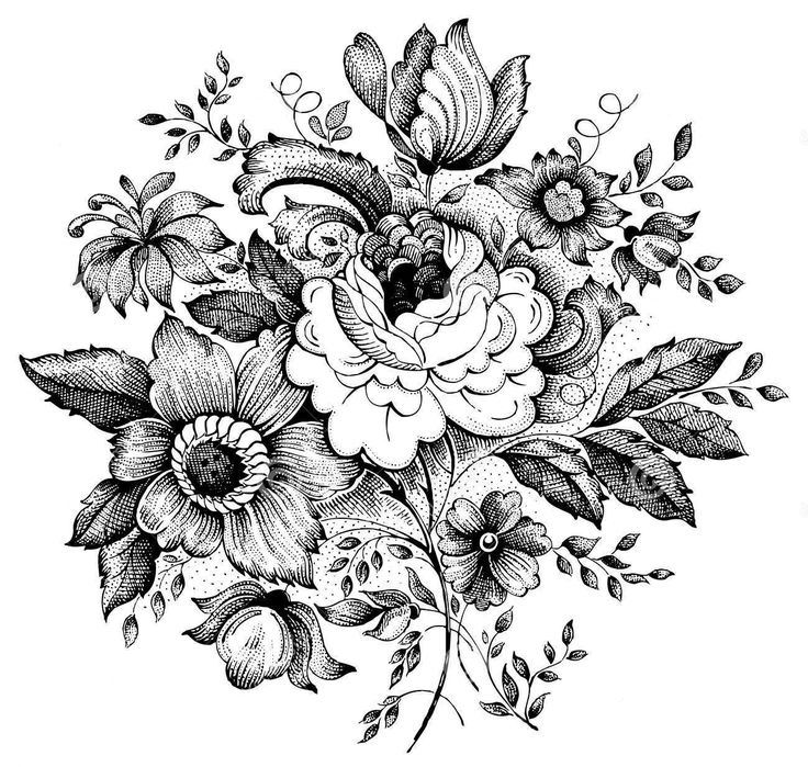 Drawn vintage flower 25+ ideas flowers Best Pinterest