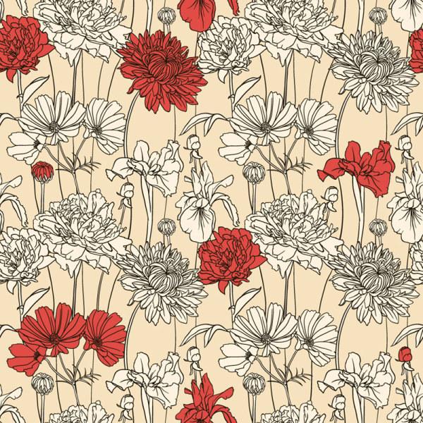 Drawn vintage flower background pattern Flower pattern Vector 01 flower