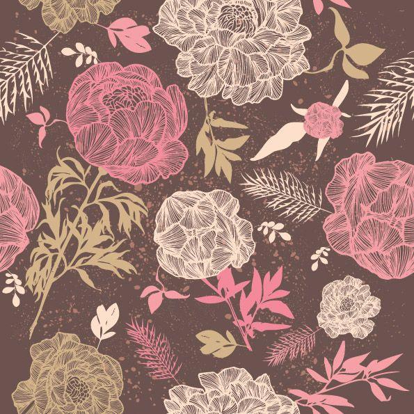 Drawn vintage flower background pattern On flower Wallpaper vintage about