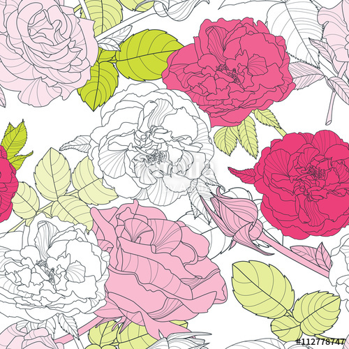 Drawn vintage flower background pattern With Vector background seamless roses
