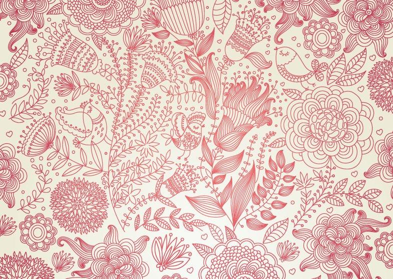 Drawn vintage flower background pattern Background 392  design wallpapers