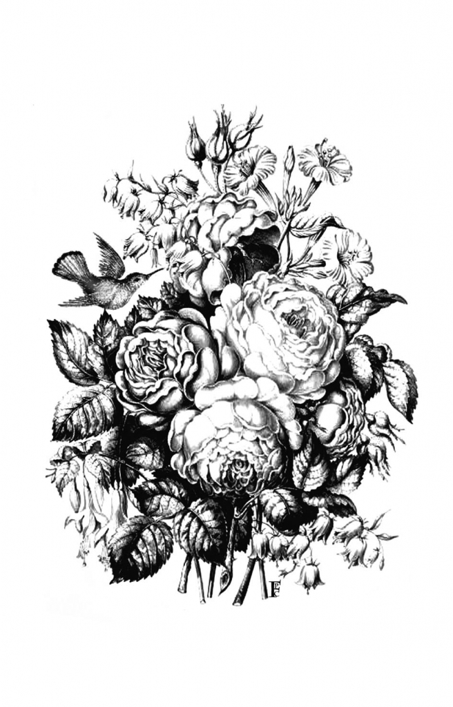 Drawn vintage flower bouquet In Drawing Pencil In