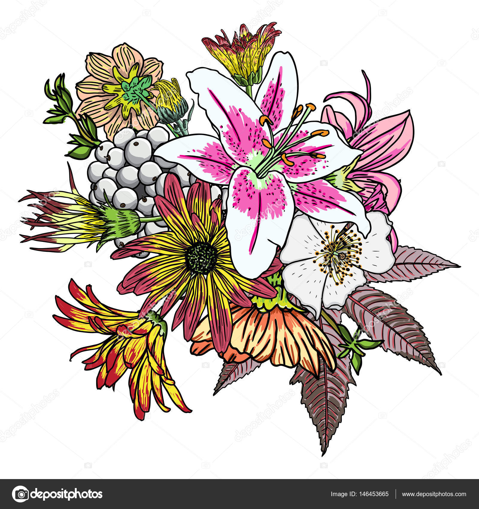 Drawn vintage flower bouquet Bouquet and by Vector —
