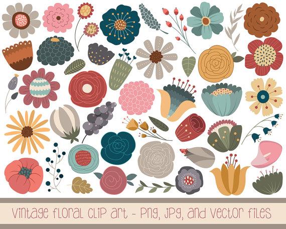 Drawn vintage flower cute Set PNG of 46 Vintage