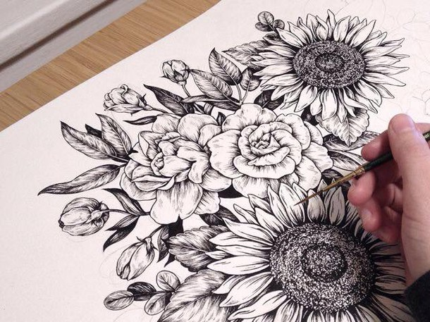 Drawn vintage flower cute  black drawing draw fashion