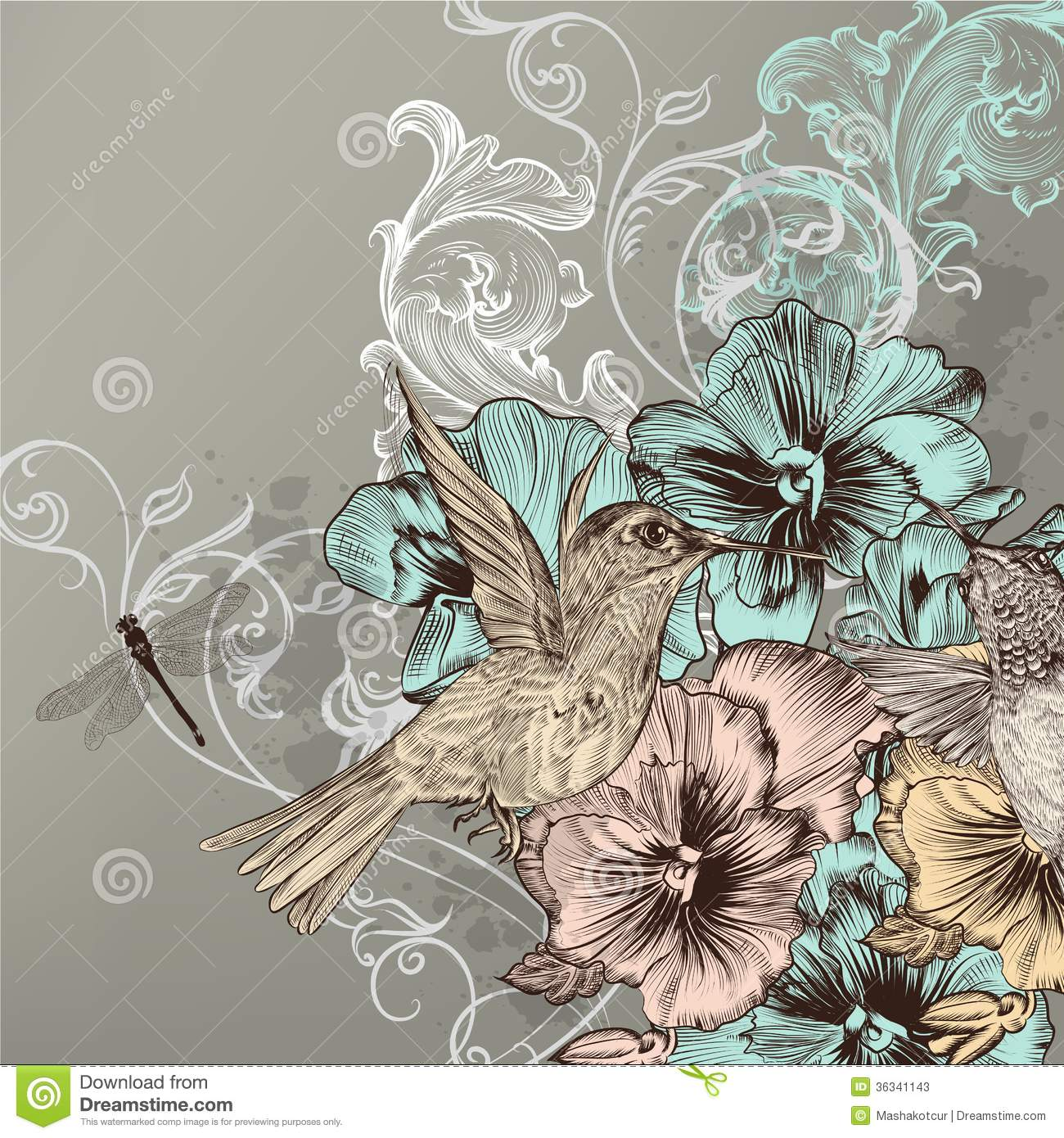 Drawn vintage flower cute Floral cute birds  floral