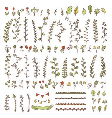 Drawn vintage flower cute Drawn doodles vintage elements VectorStock®
