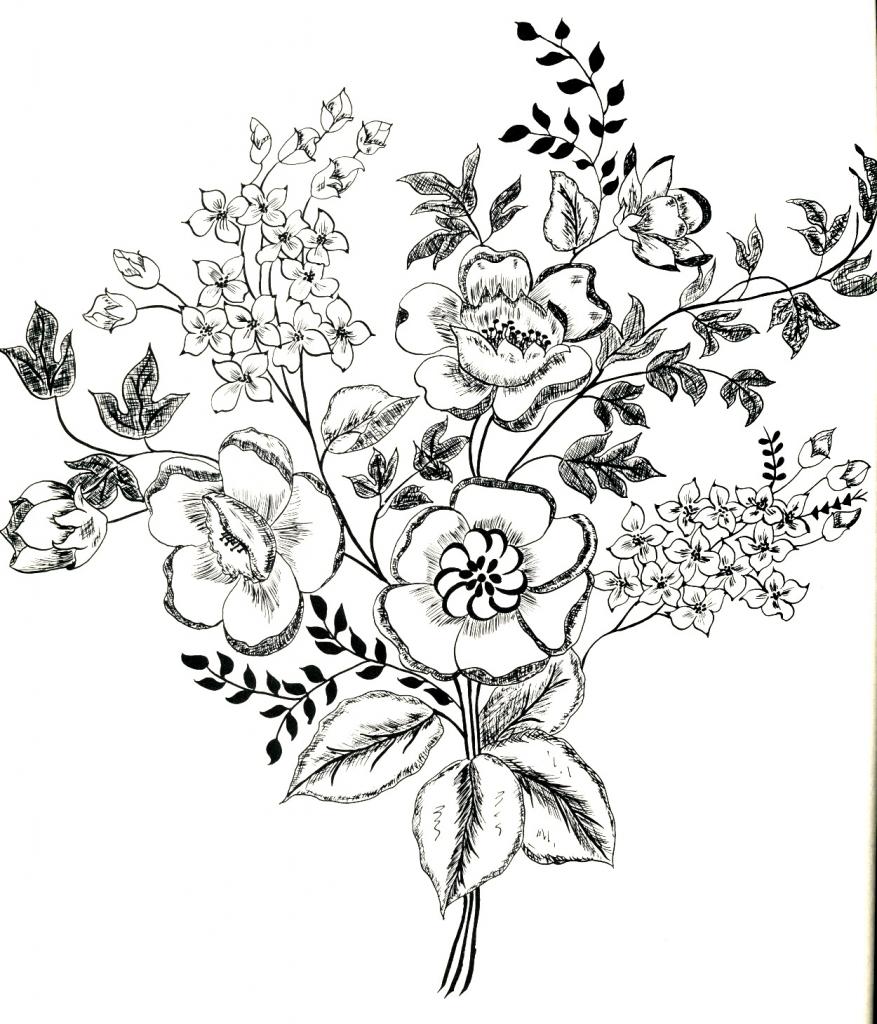 Drawn vintage flower line drawn Flower Flower Drawing – Fashioned