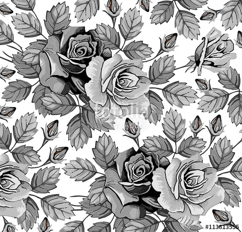 Drawn vintage flower Vintage Flowers black realistic
