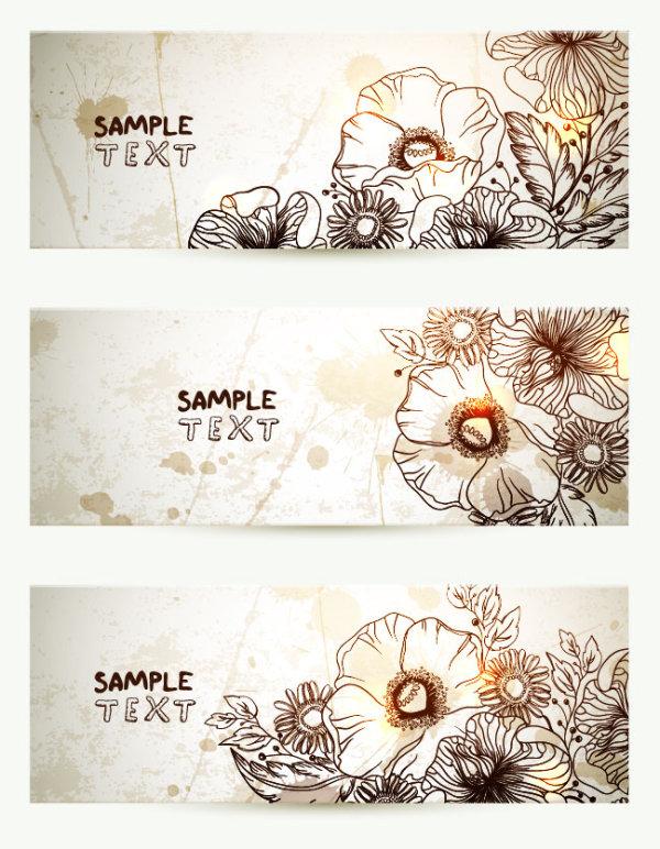 Drawn vintage flower vector Hand graphic Hand  flower