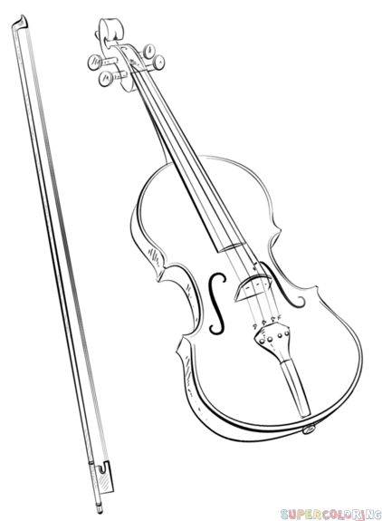 Drawn music violin playing Draw and Step to step