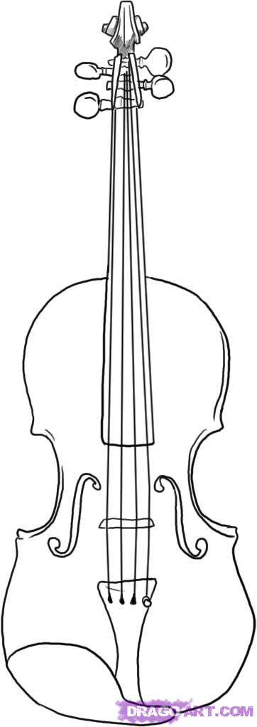 Drawn violin A to Step how draw