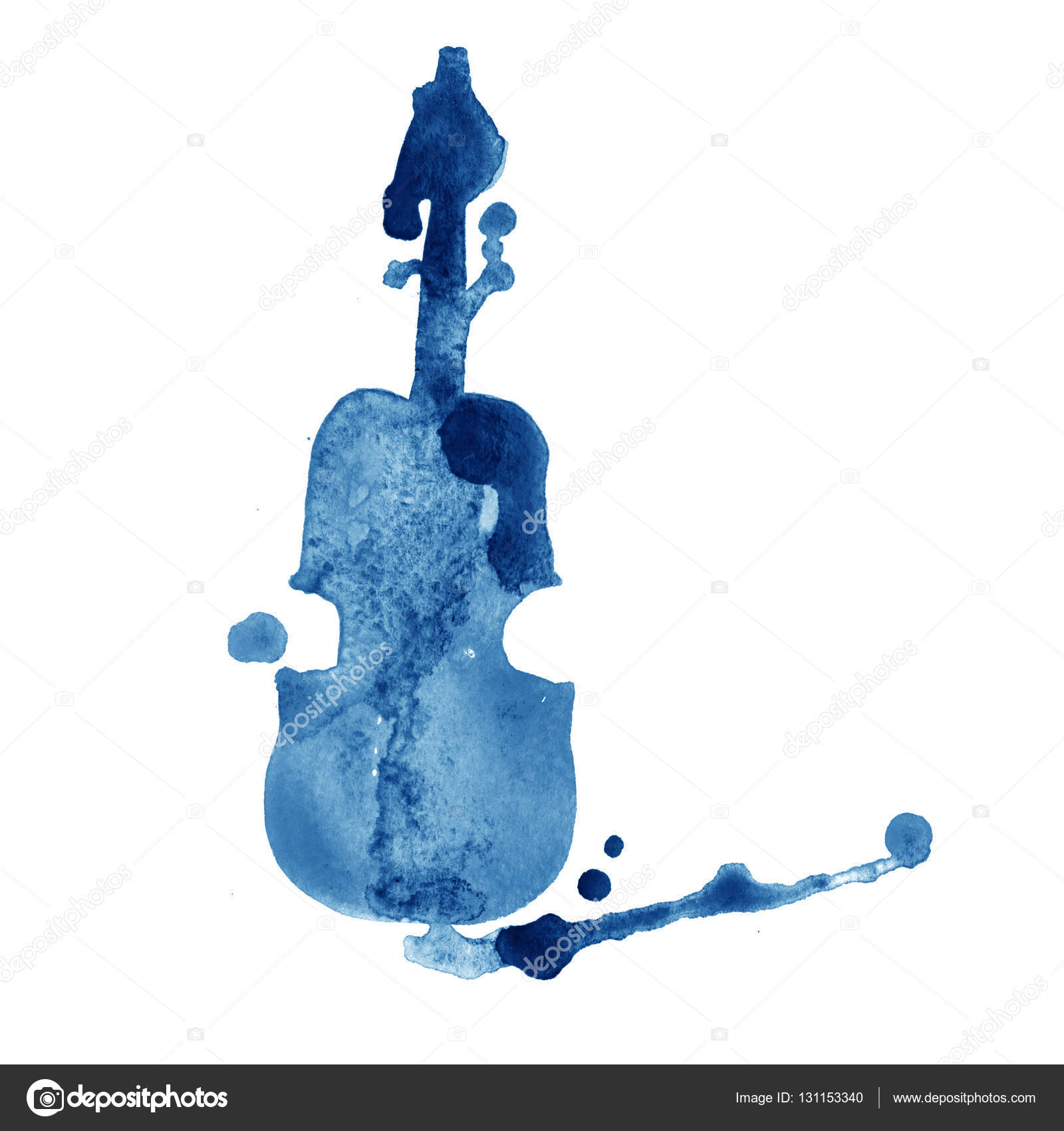 Drawn violin cartoon Stock Watercolor with — on