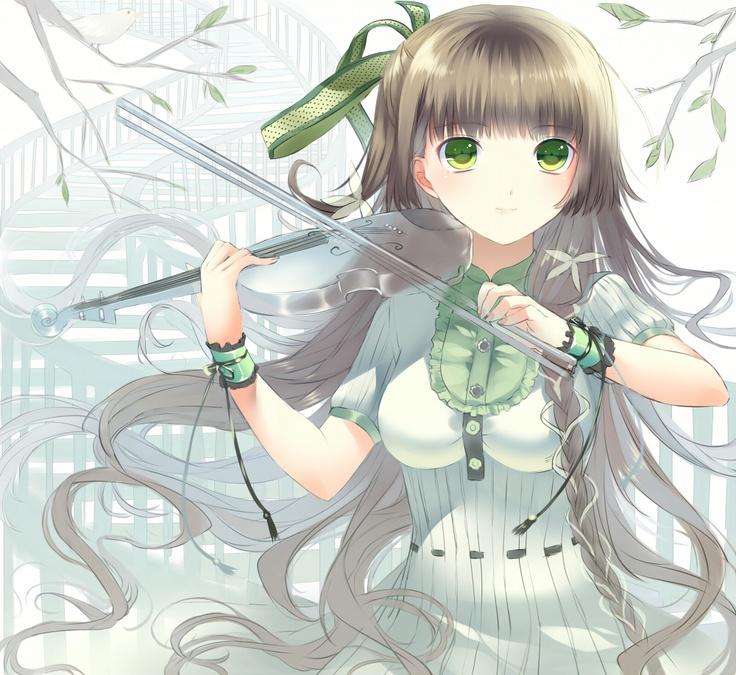 Drawn violin cartoon And anime Pretty Anime style