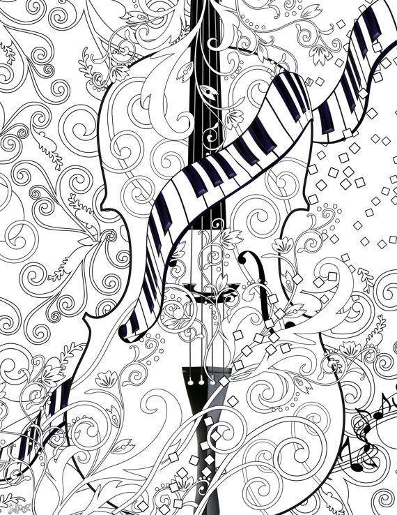 Drawn violin color Musical Instrument Fine Printable Coloring