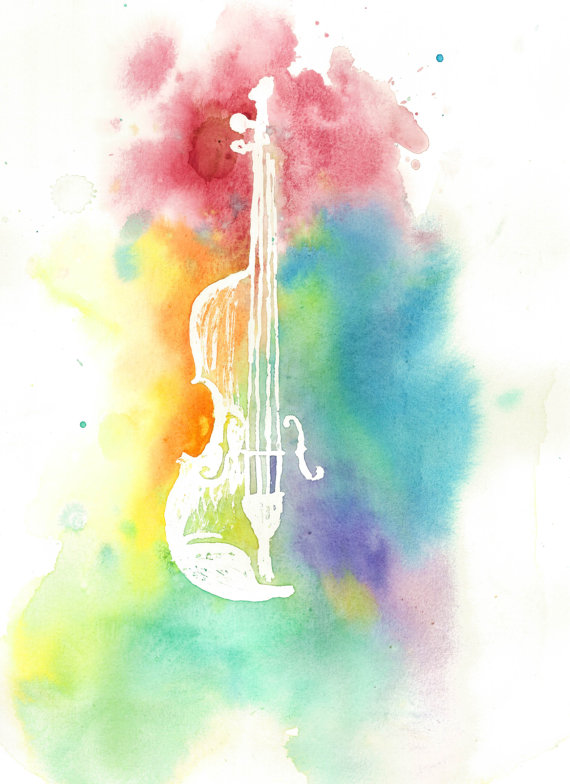 Drawn violin color Silhouette Instrument Violin Print Colorful