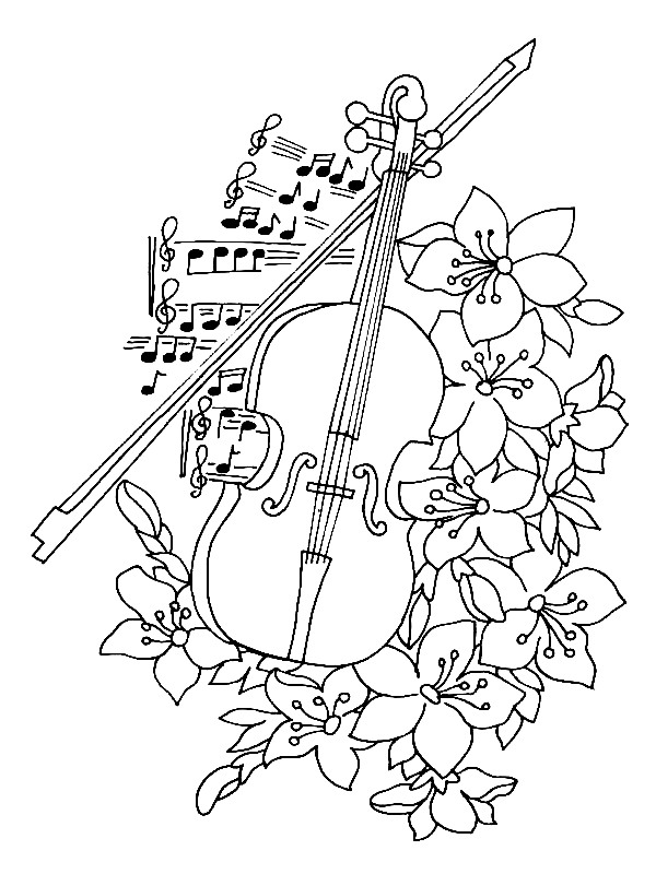 Drawn violin color For  themed coloring for