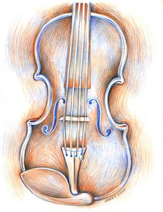 Drawn violin color  Pencil Greg Pencil Colored